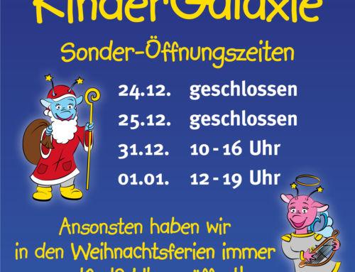 Öffnungszeiten über die Weihnachtsferien