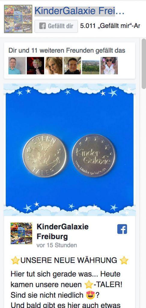 Link zur Facebook Seite Kinder Galaxie